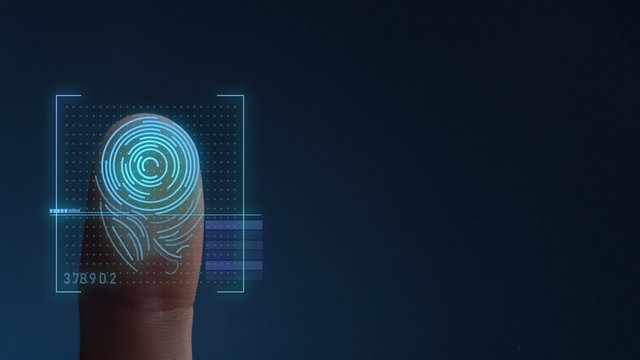 Finger Print Biometric Scanning Identification System. Copy Space