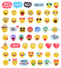 Emoji emoticons symbols icons set. Vector Illustrations