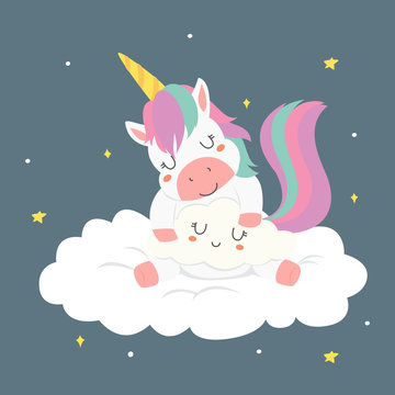 cute sleeping unicorn hugging a cloud cartoon vector