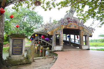 Thanh Toan Bridge, The ancient wooden Bridge on the river perfume near Hue City, Vietnam