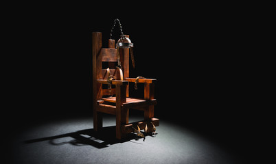 Electric chair in a dark background Fototapete