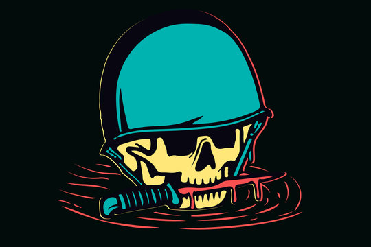 Isolated colorful skull in helmet and a knife in her teeth with blood, vector illustration design