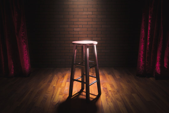wood stool on a stage