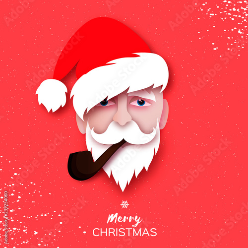 d8b1274c663128 Santa Claus.Face, hat and beard in paper cut style. Origami Merry Christmas  and Happy New Year Greetings card. Winter holidays. Red.
