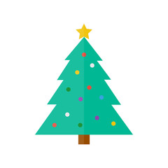 christmas tree icon in flat style isolated vector illustration on white transparent background.