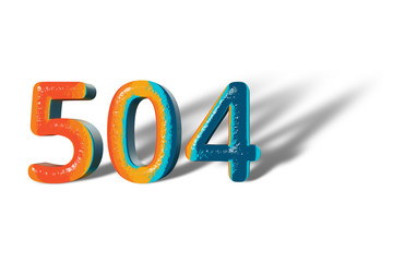 3D Number 504 five hundred four lively colours