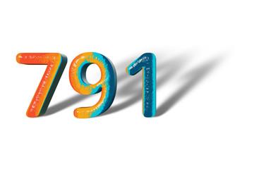 3D Number 791 seven hundred ninety one lively colours