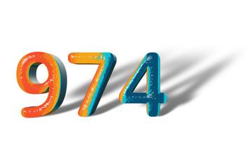 3D Number 974 nine hundred seventy four lively colours