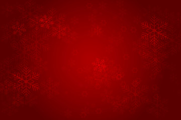 Christmas red background with glowing snowflakes and bokeh. vertor illustration