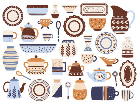 Kitchen crockery. Ceramic cookware, porcelain cups and glassware jar. Kitchen tableware isolated flat items vector set