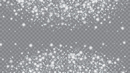 Falling snow background. Festive picture of the Christmas banner. Macro snowflakes flying border illustration. Transparent base.
