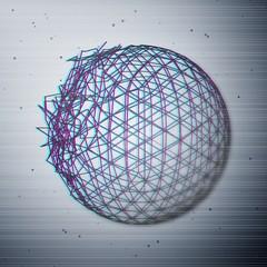 Glitch abstract broken sphere
