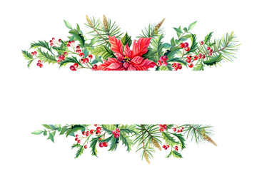 Watercolor Merry Christmas Frame banner with poinsettia
