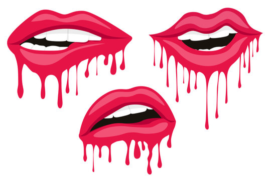 Vector illustration with parted lips. Sexy woman lips. Dripping with red paint lips. Red drops on white background