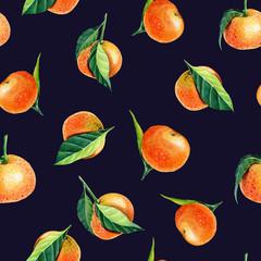 Watercolor Tangerines with leaves. Semless pattern for print design. Mandarin orange fruit.black