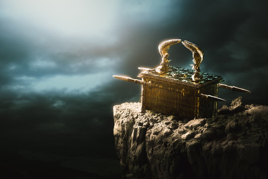 Ark of the covenant at the top of a mountain / 3D Rendering