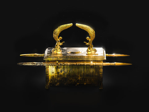 Ark of the covenant on a dark background / 3D illustration
