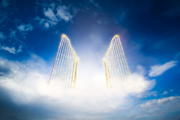 gold heavens gate in the sky / 3D illustration Wall mural