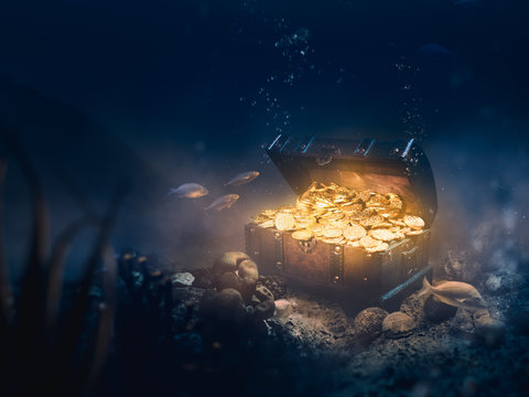 Sunken treasure at the bottom of the sea