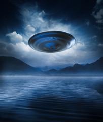 flying saucer on a lake