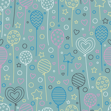 Vector seamless pattern with hand drawn balloons. Doodle elements - stars, dots, hearts, balloons. Festive background for birthday party.  Pink, blue, yellow, white objects on gray backdrop.