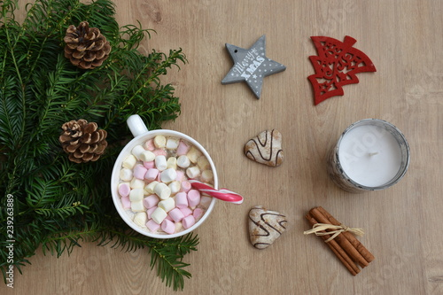 Coffee Christmas Ornaments.High Angle View Of Coffee Cup With Christmas Ornaments