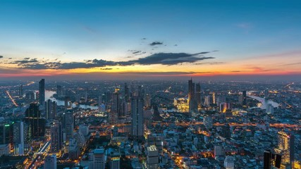 Fototapete - Time lapse of Bangkok cityscape at night.