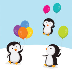 Little penguins with balloons