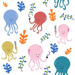 Seamless pattern cute cute pirate octopus. Creative childish texture for fabric, textile fashion