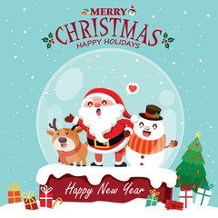 Vintage Christmas poster design with vector penguin, Snowman, Santa Claus, elf, reindeer characters.