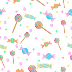 Cartoon lollipops seamless pattern. Vector colorful candy background.