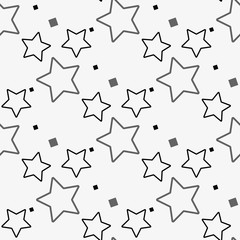 black and white star seamless patterns, Vector illustration