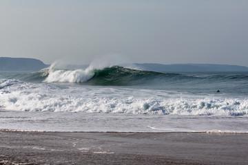 Atlantic ocean at Nazare north beach, Portugal.