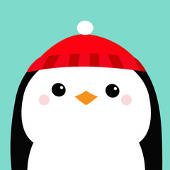 Penguin head face. Red hat. Merry Christmas. Happy New Year. Cute cartoon kawaii baby character. Arctic animal. Flat design. Hello winter. Blue background.