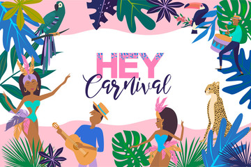 Brazil Carnival poster template with Brazilian samba dancer. Carnival in Rio de Janeiro with girls wearing a festival costume. Editable vector illustration