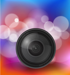 Camera lens over bokeh background, Illustration Vector 10