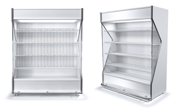 Trade open refrigerated display case with shelves. 3d illustration isolated on white.