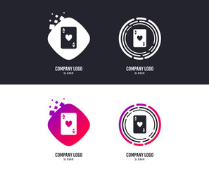 Logotype concept. Casino sign icon. Playing card symbol. Ace of hearts. Logo design. Colorful buttons with icons. Vector