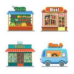 Shops set. Meat shop, farm products, pizza, books