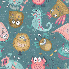 Colorful vector seamless pattern with funny monsters