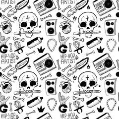 Rap Music. Hip hop doodle pattern with rap attributes