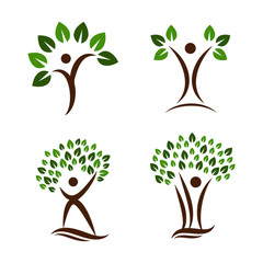 Simple Unique tree people Icon Symbol Logo For Business
