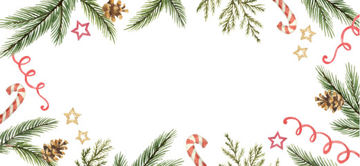 Watercolor vector Christmas banner with snowflakes, berries and fir branches.