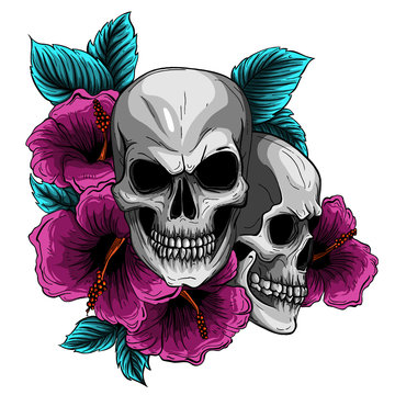 Human skull and flower wreath