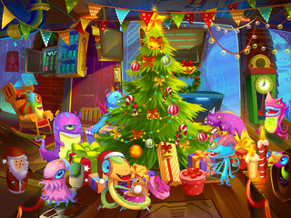 Merry Christmas and Happy New Year! From Cute Alien Monsters of Mars. Greeting Card. Fiction Backdrop. Concept Art. Realistic Illustration. Video Game Digital CG Artwork. Nature Scenery.