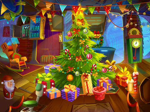 Merry Christmas and Happy New Year in Space. Happy Christmas Room Inside. Greeting Card. Fiction Backdrop. Concept Art. Realistic Illustration. Video Game Digital CG Artwork. Nature Scenery.
