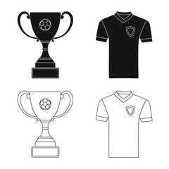 Vector design of soccer and gear sign. Set of soccer and tournament stock vector illustration.