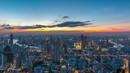 Fotomurales - Time lapse of Bangkok cityscape at night.