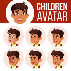 Arab, Muslim Boy Avatar Set Kid Vector. Primary School. Face Emotions. User, Character. Leisure, Smile. Layout, Advertising. Cartoon Head Illustration