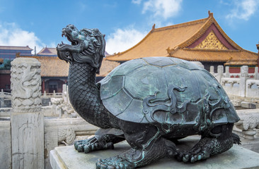 Bronze statue of a turtle in the Forbidden City, or Gu Gong Palace - Beijing, China. Wall mural